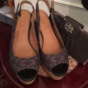 Woman's cork heel wedge coach sling back